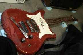 Stevie Ray Vaughan guitar that was flooded at Soundcheck Nashville and are now drying out May 10, 2010. Most of these artifacts are irreplaceable and are one of a kind